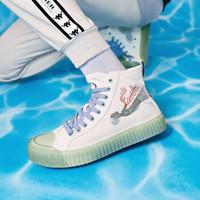 Kappa 卡帕 艺术家联名 五行之水 K09Y5VS84 男女高帮帆布鞋