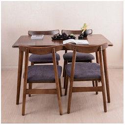 1日0点:J.ZAO京东京造北欧简约实木餐桌椅组合一桌四椅1.2m